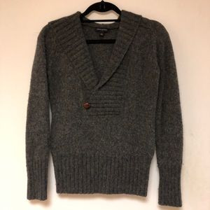 Banana republic wool v neck hooded sweater